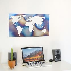057 Modern World Map Flame Painted Metal Hanging Wall Art Decoration