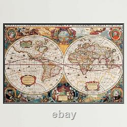 1630 Antique World Map Antique and Vintage World Maps Canvas Art Print for Wall