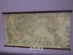 1913 World Chart Huge Wall Map on Linen & Wooden Rollers 160 cm x 85 cm by Bacon