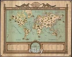 1917 Hanot Pictorial Wall Map of the World Fur Trade