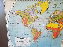 1920s Era Nystrom Atwood World Map Population & Occupation Wall Pull Down School