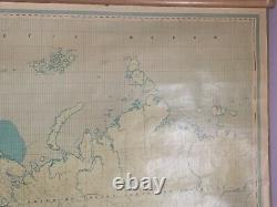1971 Huge Wall World Map on Wooden Rollers by George Philip 190 cm x 135 cm