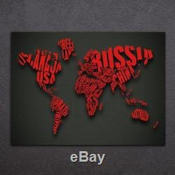 1 Piece World Map Red Color 3d look Canvas Wall Art Print Poster