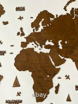 2D World Wooden Wall Map XL in Venge color size 78 x 39