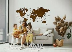 2D World Wooden Wall Map in Venge L size 59 x 31