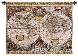 35x45 ANTIQUE MAP GEOGRAPHICA World Tapestry Wall Hanging