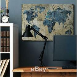 36 In. X 48 In. Vintage Abstract World Map By Art Licensing Studio Canvas Wall
