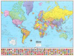 36x48 Hammond World Wall Map Large Mural Poster NEW