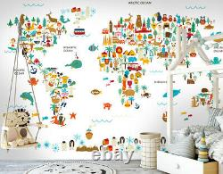 3D Animal World Map N17 Wallpaper Wall Mural Removable Self-adhesive Sticker Amy