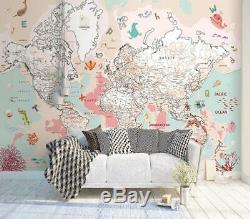 3D Animal World Map N20 Wallpaper Wall Mural Removable Self-adhesive Sticker Amy