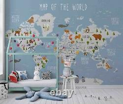 3D Animal World Map Wallpaper Wall Mural Removable Self-adhesive Sticker4774