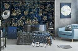 3D Blue Fish B499 World Map Wallpaper Wall Mural Removable Self-adhesive Amy
