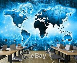 3D Blue Lines B462 World Map Wallpaper Wall Mural Removable Self-adhesive Amy