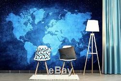 3D Blue Star B430 World Map Wallpaper Wall Mural Removable Self-adhesive Amy