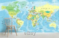 3D Blue World Map Wallpaper Self-adhesive Removable Mural Feature Wall 50