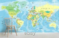 3D Blue World Map Wallpaper Wall Mural Removable Self-adhesive Sticker B990