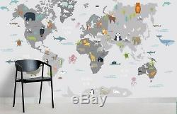 3D Cartoon World Map Self-adhesive Removable Wallpaper Feature Wall Mural 270