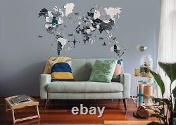 3D Colored Wood World Map With Rivers&Lakes Travel Gift Home Decor Wall Decor