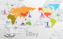 3D Colorful World Map Planes Wallpaper Full Wall Mural Photo Printed Home Decor