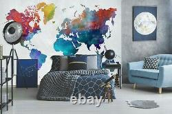 3D Colour Blue B413 World Map Wallpaper Wall Mural Removable Self-adhesive Amy