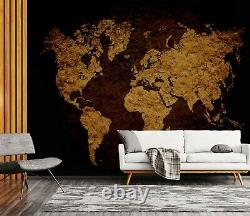 3D Dark Gold A648 World Map Wallpaper Wall Mural Removable Self-adhesive Amy