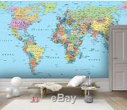3D Details, World Map Wallpaper Wall Mural Removable Self-adhesive Sticker