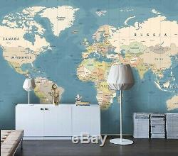 3D Details, World map Self-adhesive Removable Wallpaper Room Wall Mural 11