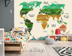 3D Dinosaur Fossil A91 World Map Wallpaper Wall Mural Removable Self-adhesive Am