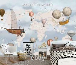 3D Fire Balloon World Map Self-adhesive Removable Wallpaper Feature Wall Mural 2