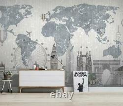 3D Gray World Map N48 Wallpaper Wall Mural Removable Self-adhesive Sticker Amy