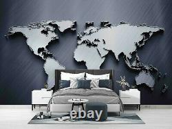3D Gray World Map Self-adhesive Removeable Wallpaper Wall Mural Sticker 44