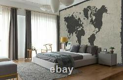 3D Grey Vintage B404 World Map Wallpaper Wall Mural Removable Self-adhesive Amy