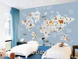 3D Kids Animals World Map Wallpaper Wall Mural 1Removable Self-adhesive 023
