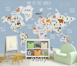 3D Kids Animals World Map Wallpaper Wall Mural 1Removable Self-adhesive Sticker