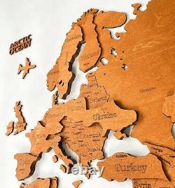 3D Multilayered Wooden World Wall Map Oak Color M size 43 x 24