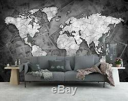 3D Newspaper B409 World Map Wallpaper Wall Mural Removable Self-adhesive Amy