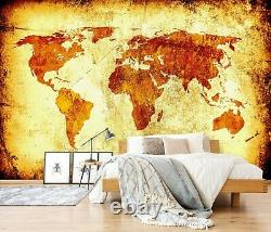 3D Old Yellow B441 World Map Wallpaper Wall Mural Removable Self-adhesive Amy