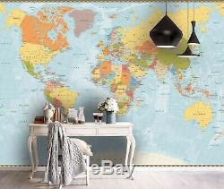 3D Realistic World Map Wallpaper Wall Mural Removable Self-adhesive Sticker0