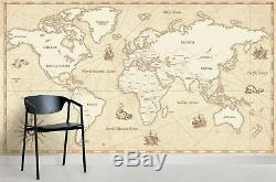 3D Retro World Map Wallpaper Self-adhesive Removable Mural Feature Wall 332
