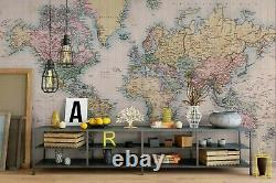 3D Retro World Map Wallpaper Wall Mural Removable Self-adhesive Sticker 63