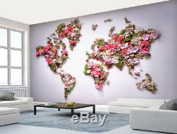 3D Rose World Map V069 Wallpaper Wall Mural Removable Self-adhesive Sticker Amy