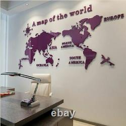3D Solid Crystal Bedroom Wall Sticker World Map Acrylic With Living Decoration