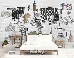 3D Text, World map Self-adhesive Removable Bedroom Wallpaper Wall Mural