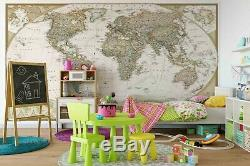 3D Turquoise World Map Self-adhesive Removable Wallpaper Feature Wall 234
