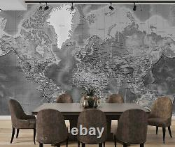 3D Vintage Grey World Map Self-adhesive Removable Wallpaper Murals Wall