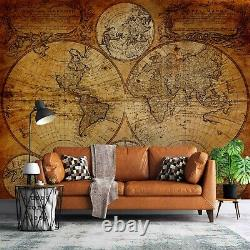 3D Vintage World Map Self-adhesive Removable Wallpaper Murals Wall