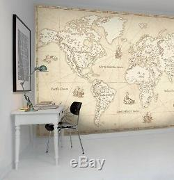 3D Vintage, world map Self-adhesive Removable Photo Wallpaper Wall Mural Sticker
