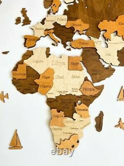 3D Wall Wooden World Map XL sz (78 x 40) with Countries States and Capitals