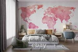 3D Watercolor Pink World Map Self-adhesive Removable Wallpaper Murals Wall 71