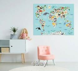 3D Whale Animal KEP245 World Map Character Wall Mural Decal Stickers Poster Kay